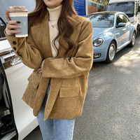 New Corduroy Thick Loose Oversized Blazers Women Autumn Winter Korean Long Sleeved Jacket Single Breasted Black Blazer 1