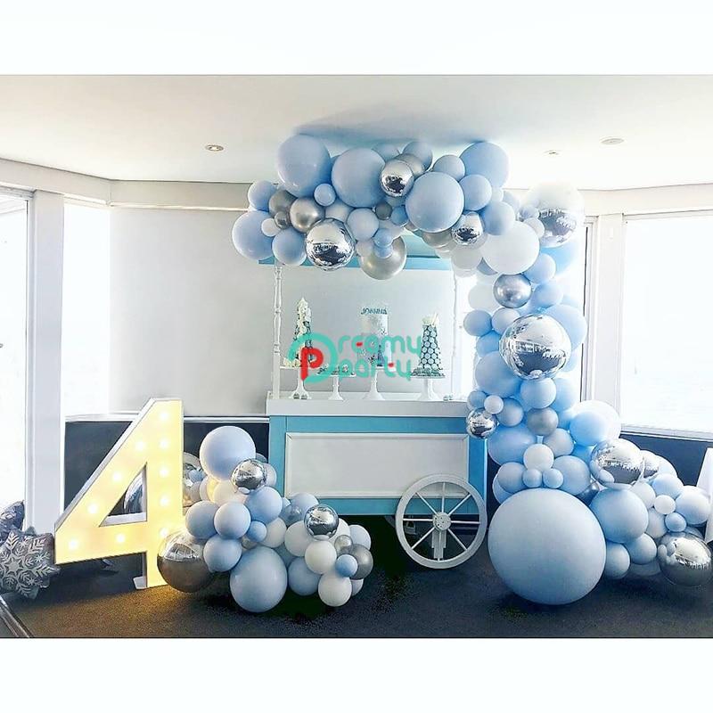 wedding : 192pcs 4D Round Balloon Garland Arch Mixed Blue White Silver Latex  Balloons Strip Chain for Birthday Wedding Decoration