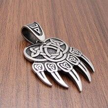 Frete grátis vintage celtics nó viking prata cor aço inoxidável urso garra pingente colar nordic amuleto jóias