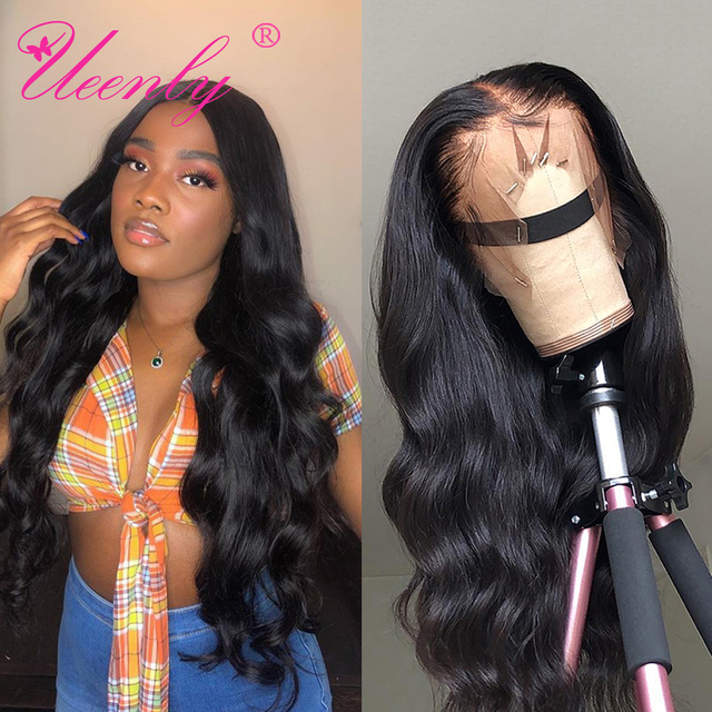 $ US $47.32 UEENLY 13x4/13x6 Lace Front Human Hair Wigs Pre Plucked Hairline Brazilian Body Wave 360 Lace Frontal Wig with Baby Hair Remy