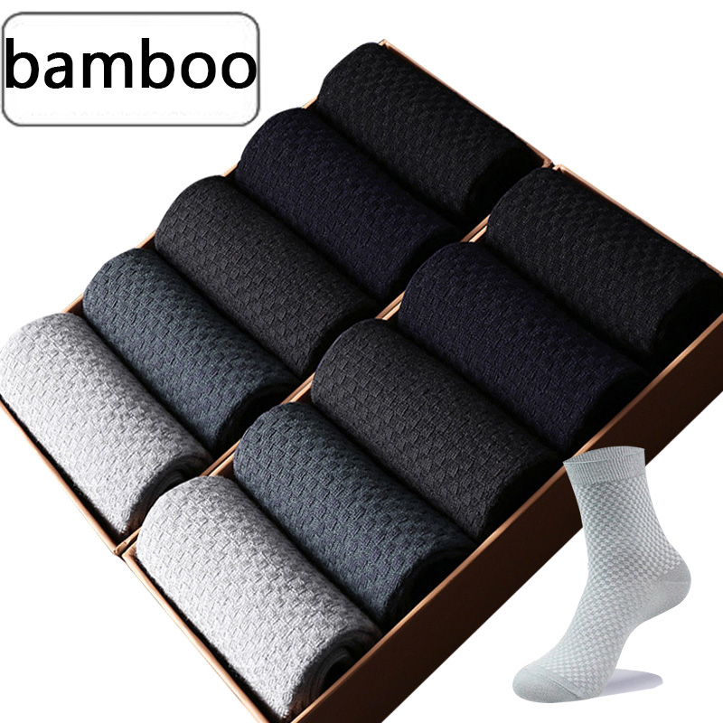 5 Pairs/Lot Men Bamboo Fiber Socks Men Compression Harajuku Long Socks  Business Casual Mlale Large Size39-46