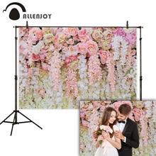 Allenjoy fleur rose toile de fond mariage mariage saint valentin 14 février nuptiale douche polyester studio photographie fond