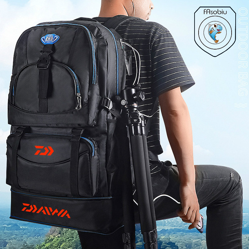 Daiwa Outdoor Camping Climbing Bag Waterproof Mountaineering Hiking Backpacks Sport Fishing Bag Climbing 50L Fishing Rucksack
