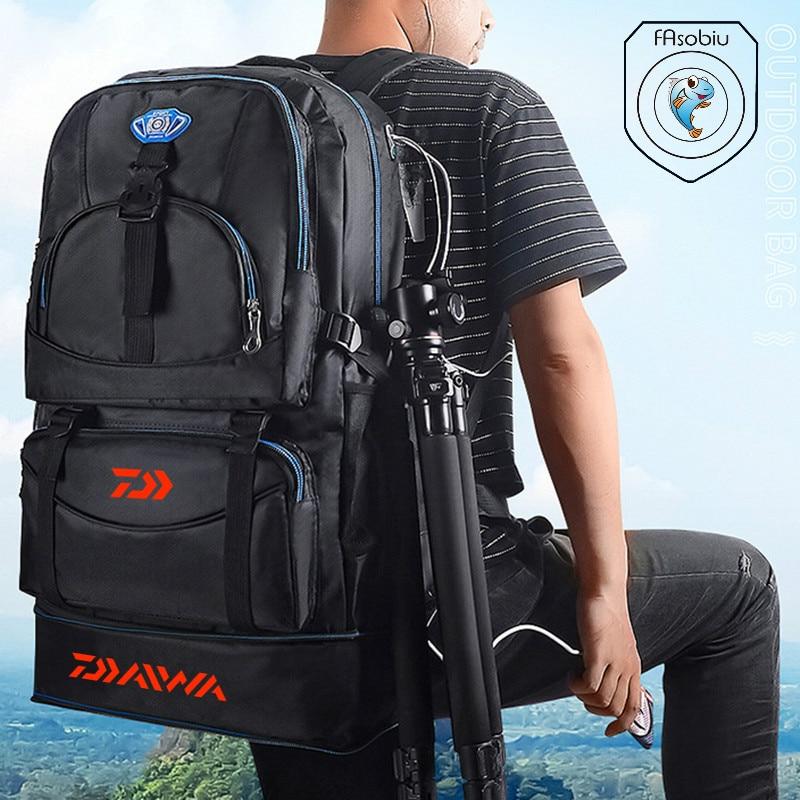 Daiwa Outdoor Camping Climbing Bag Waterproof Mountaineering Hiking Backpacks Sport Fishing Bag Climbing 50L Fishing Rucksack