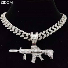 Men Women Hip Hop Iced Out Bling Submachine Gun Pendant Necklace with 13mm Miami Cuban Chain HipHop Necklaces Fashion Jewelry