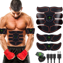USB Rechargeable Electric Abdominal Muscle Stimulator EMS Trainer ABS Gym Fitness Body Massage Exercise LCD Belly Training Gear