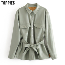 toppies 2020 light green faux leather jacket coat womens lac