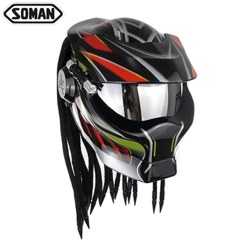 SOMAN Predator Helmet Motorcycle Full Face Predator Casque Fiberglass Predator Mask Casco Verspa Alien Caoacete DOT 958