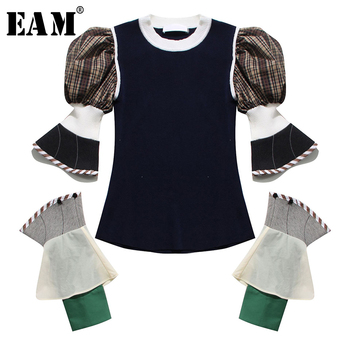 [EAM] Women Plaid Split Knitting Temperament T-shirt New Round Neck Long Puff Sleeve  Fashion Tide  Spring Summer 2020 1T923