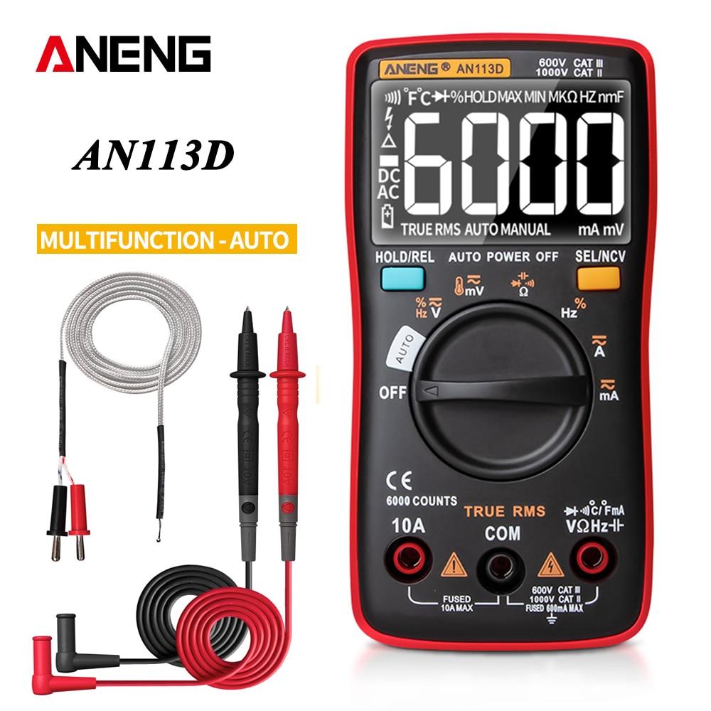 Multimètre numérique ANENG AN113D 6000 comptes testeur de transistor de compteur électrique calibrateur de processus de de tension ca/cc de Rang automatique