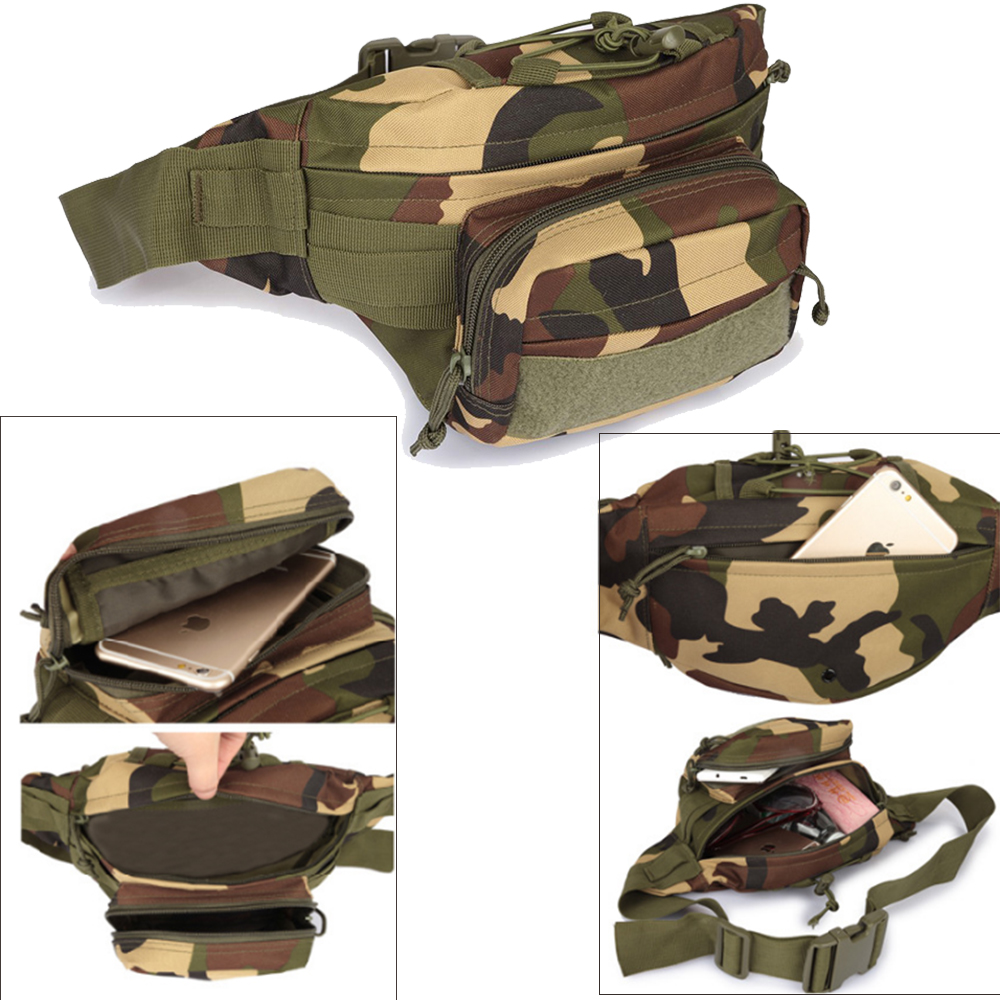 Outdoor Tactical Waterproof Men Waist Pack Hiking Nylon Waist Bag Military Hunting Sports Climbing Camping Waist Pockets