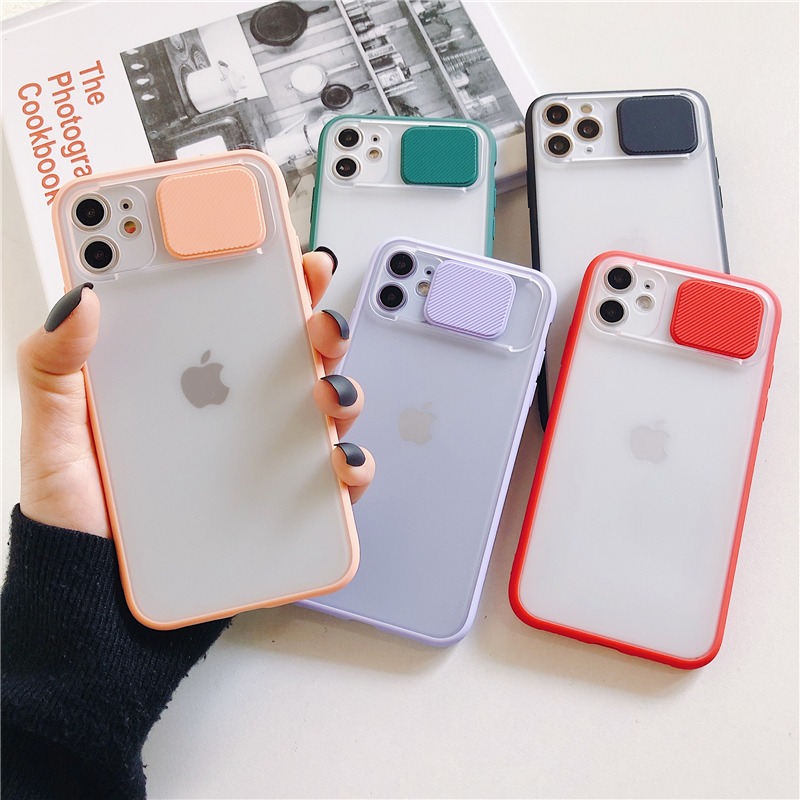 Slide Camera Lens Protection Phone Case For iPhone 11 Pro Max X XR XS Max 6 6S 7 8 Plus SE2 2020 Matte Silicone Lens Back Cover