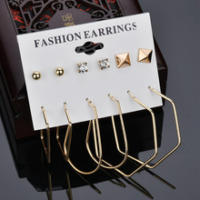 6 Pairs/Set Mix Design Square Stud Earrings For Women earrings Irregular Metal  stud earrings set Punk Earrings Fashion Jewelry cat design stud earrings