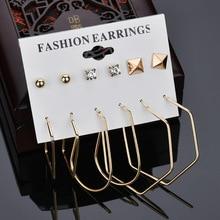 6 Pairs/Set Mix Design Square Stud Earrings For Women earrings Irregular Metal  stud set Punk Fashion Jewelry
