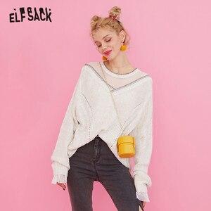 Image 3 - ELFSACK מתוק תחרה טלאי נשים סוודרים, 2019 סתיו אופנה טלאי נצנצים Femme סרוג חולצות קוריאה מזדמן בגדים