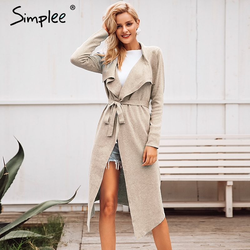 Simplee Belt Lace Up Women Cardigan Autumn Winter Long Sweater Jumper Knitted Cardigan Turn Down Collar Thick Casual Coat 2018