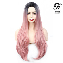 Pink Ombre Wigs for Women Long Wave Pink Synthetic Wig with