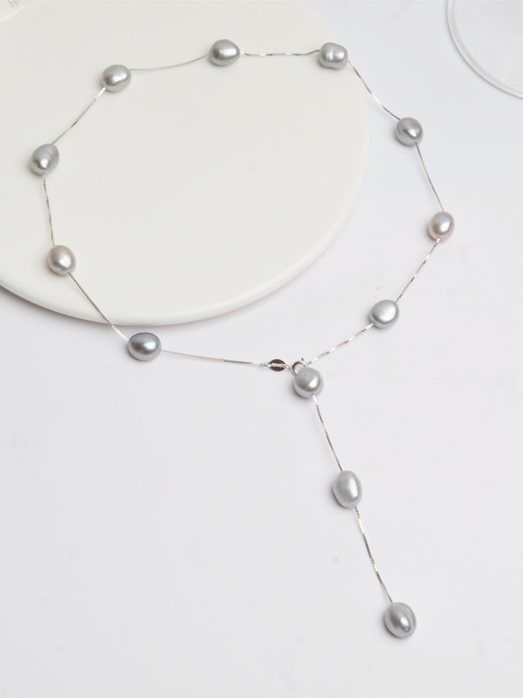 ASHIQI Pendant Necklace Jewelry Chain 925-Sterling-Silver Freshwater Baroque Pearl Women