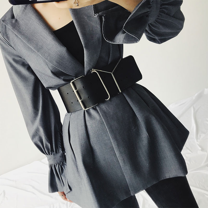 94cm Vintage Pu Leather Waist Belts Women 2019 Fashion Faux Leather Wide Elastic Belt Womens Waistband Black Belt For Coats