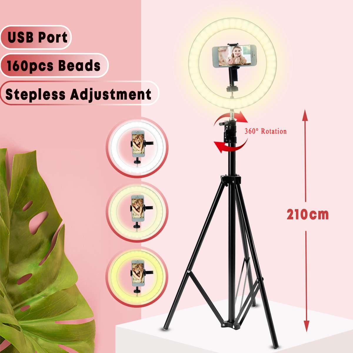 LED Ring Light 10 Dimmable Tripod Phone Camera Photo Selfie Live Light Stand Photography Ring Light for Self-timer Beauty image