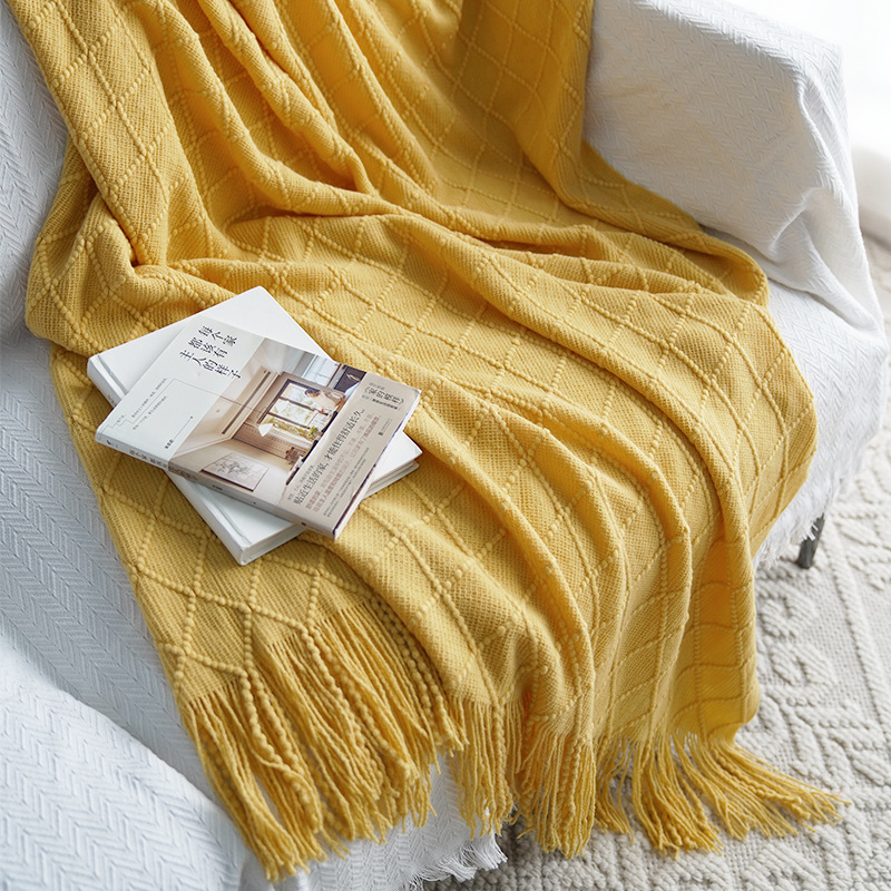 Nordic Knitted Blanket Travel Blanket Grey Khaki Sofa Throw Blanket with Tassels Air Condition Blankets 127x170cm/127x220cm-5