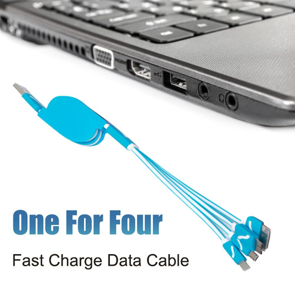 USB Cable One For Four Telescopic Multifunctional Fast Charging Data Cables For Android For IPhone