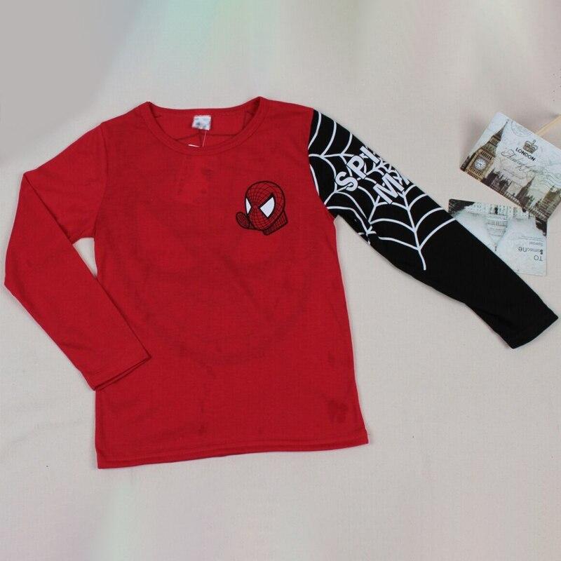 Футболки для маленьких мальчиков; детская футболка с длинными рукавами с рисунком Человека-паука; детская одежда в стиле пэчворк; сезон осень-весна; рубашка для мальчиков; Детские топы; футболки - Цвет: red