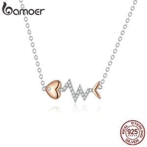 Image 4 - Bamoer אמיתי 925 סטרלינג כסף דגי עצם עם פעימות לב רוז זהב צבע שרשרת טבעת ועגילים לנשים ZHS185