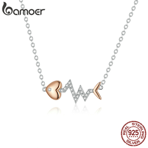 Image 4 - bamoer Real 925 Sterling Silver Fish Bone with Heartbeat Rose Gold Color Necklace Ring and Stud Earrings for Women ZHS185