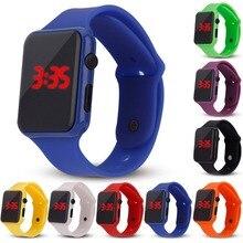 Новые модные светодиодный цифровые спортивные часы детские часы с квадратным циферблатом с силиконовым ремешком повседневные спортивные детские часы
