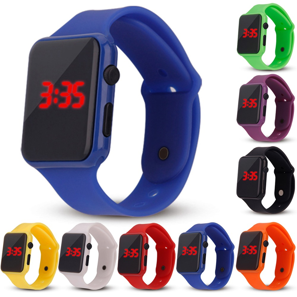 2019 New Fashion LED Digital Sports Watch Children's Square Dial Watch Silicone Strap Casual Sports Casual Children's Watch