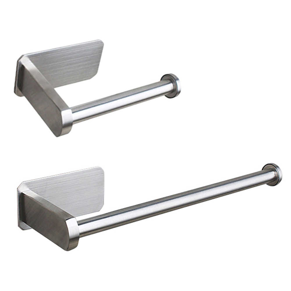 Stainless Steel Brushed Toilet Paper Holder 3M Self-adhesive Paper Towel Holder Kitchen/Bathroom Towel Rack Bathroom Products