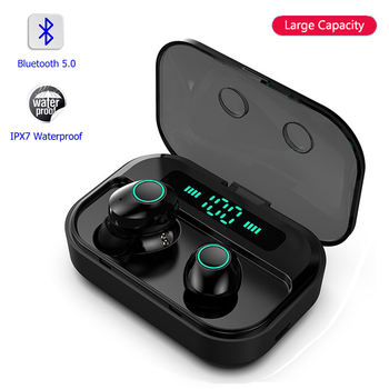 DaoLxi TWS Bluetooth 5.0 Earphone Stereo Wireless Earbus IPX7 Waterproof HIFI Sport Earphones Handsfree Gaming Headset with Mic