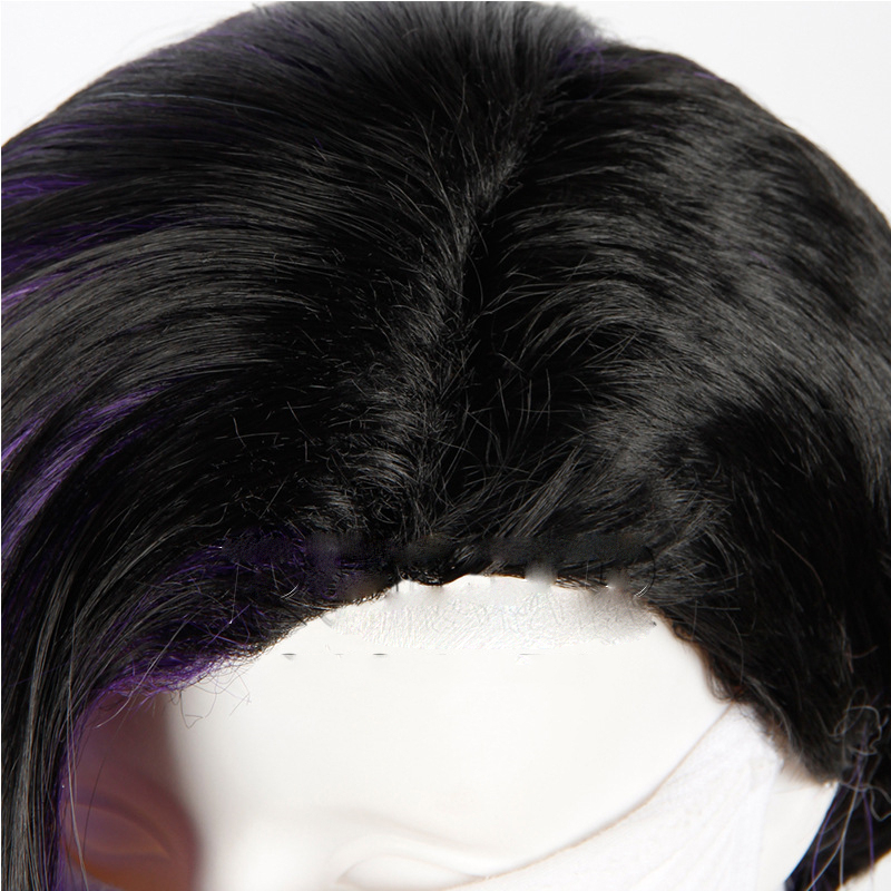 Game Overwatch OW Sombra Wig 40cm Black Purple Whtie Ombre Mix Curly Synthetic Hair Cosplay Costume Wigs 4