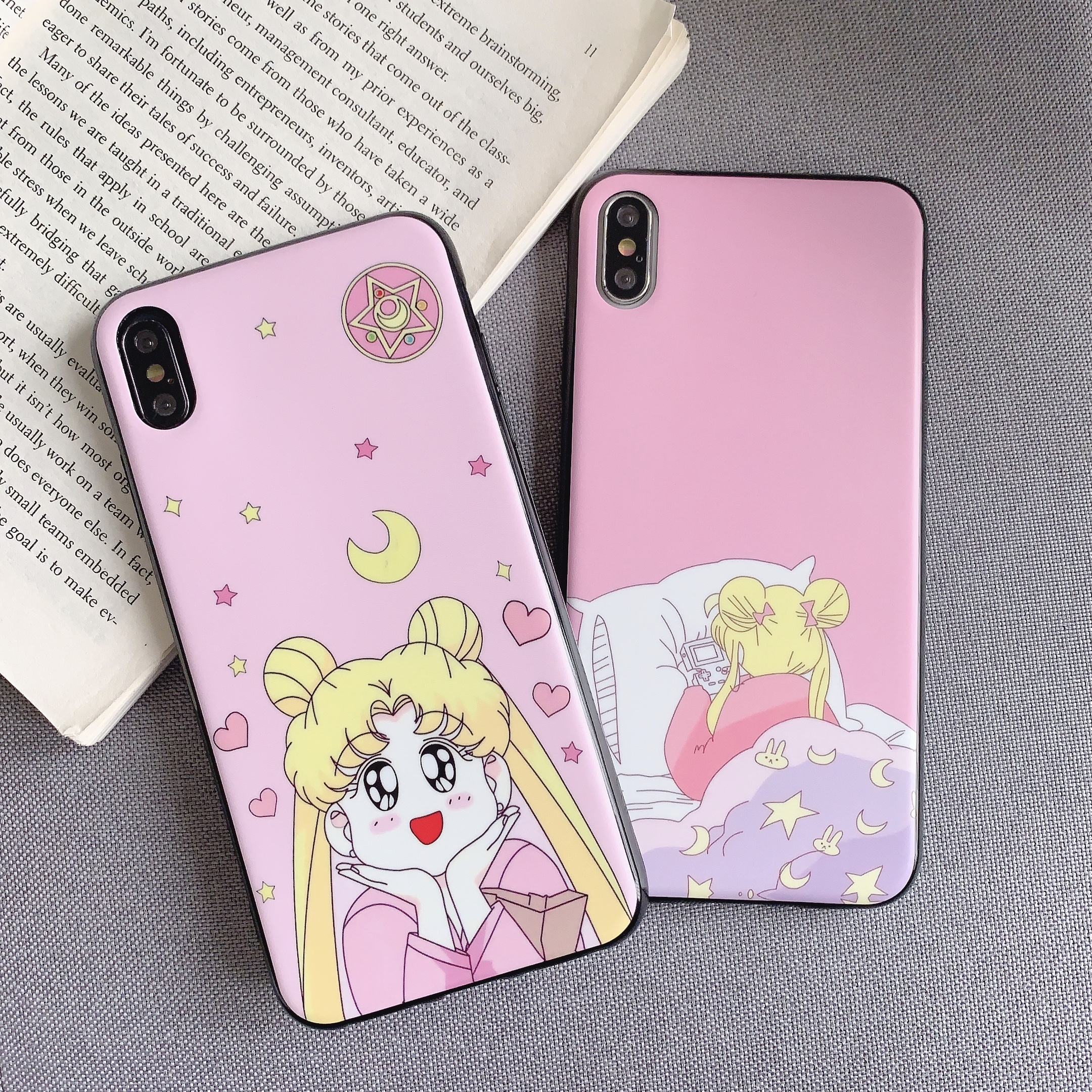 Funny Cute Cartoon  Sailor Moon Pretty Girl Phone Case For iphone 6 6S 7 8 Puls xs max X XR Xs Max Silicone TPU Soft Cover