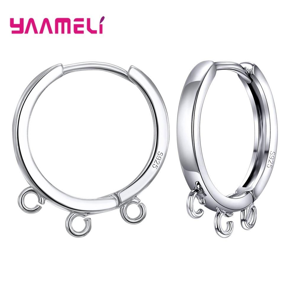 1 Pair 925 Sterling Silver DIY Jewelry Making Findings Handmade Connector Square/Round Circle Edge Loop Hoop Earrings Fittings