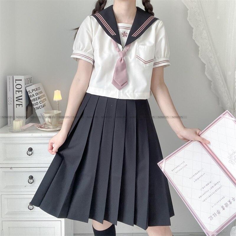 Japanese Student Orthodox School Uniform Dark Girl Sakurakawa Cool Girl JK Uniform Skirt Summer Short-sleeve Short skirt Suit