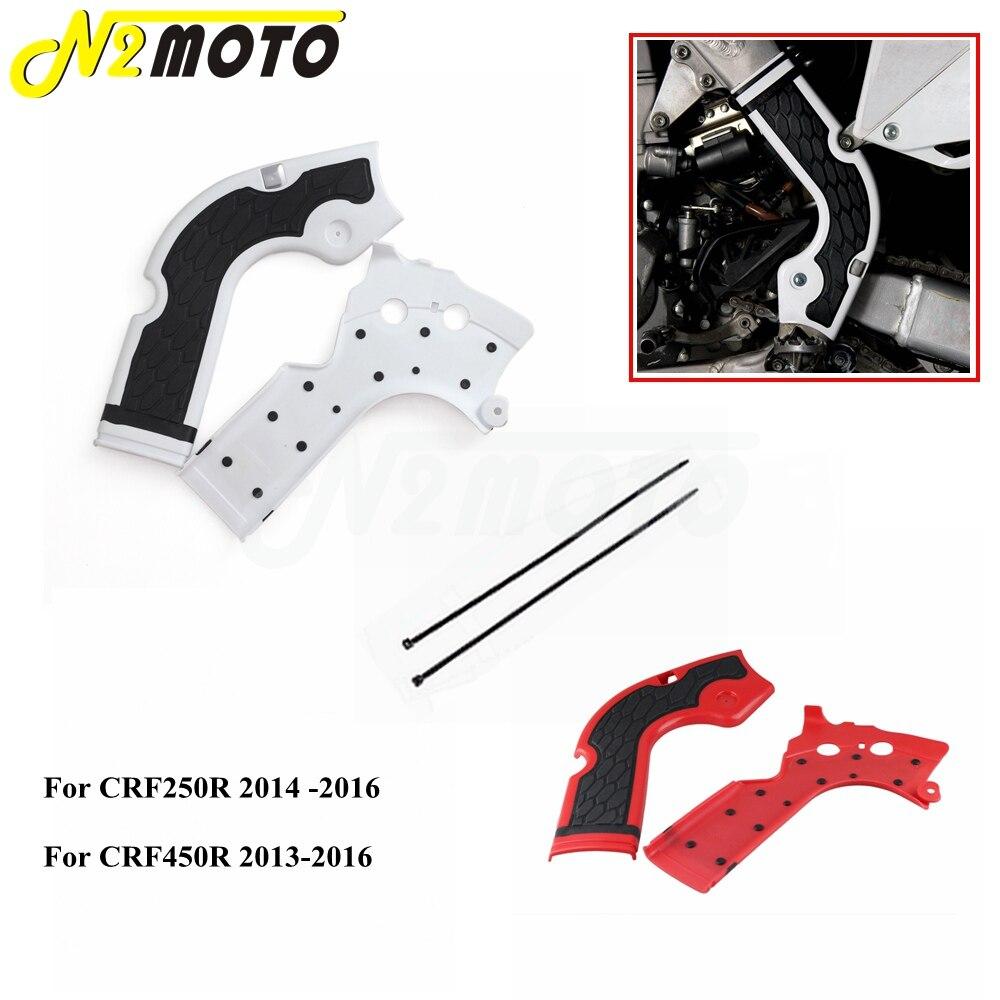 Protecteur de cadre blanc pour Motocross, 1 paire, pour Honda CRF250R CRF450R CRF 250 450 R 2013-2016 Dirt Bike