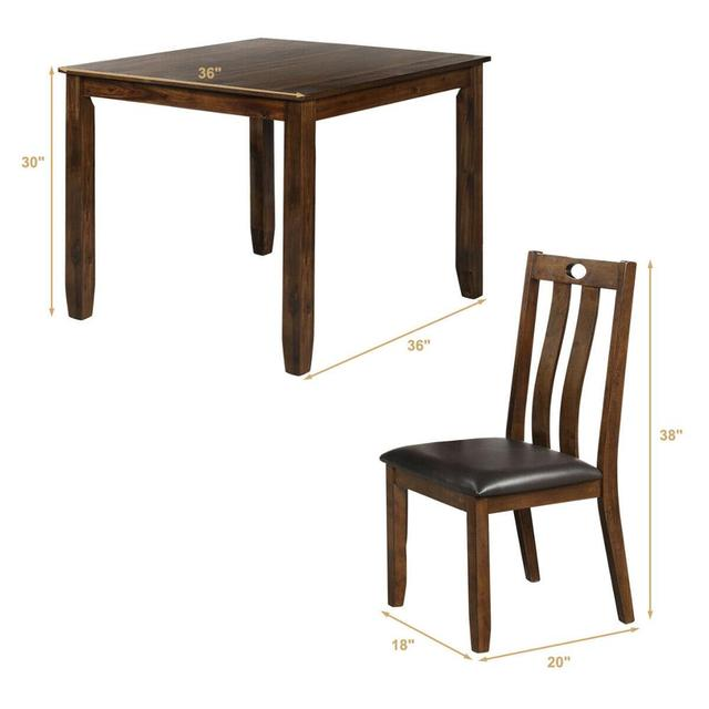 5-Piece Wood Square Dining Table Set  2