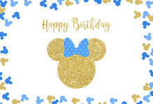 7x5FT Happy Birthday Party Gold Sequins Mickey Minnie Mouse Blue Siluette Custom Photo Backdrop Background Vinyl 220cm X 150cm(China)