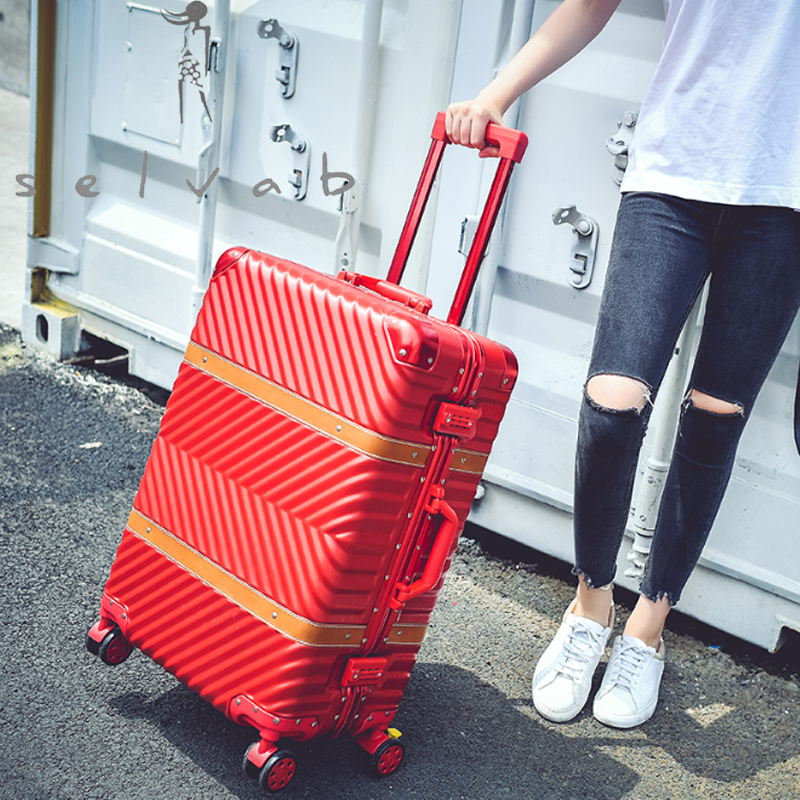 Aluminum Frame Luggage Trolley Case Belt 20 Inch Boarding Case Caster Suitcase Brand Luxury High Quality Duffel Bag