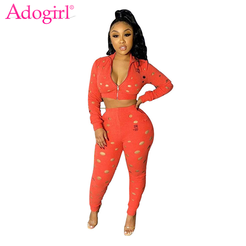 Adogirl Hollow Out Women Tracksuit Casual Two Piece Set Front Zipper Long Sleeve Crop Top Pencil Pants Solid Female Clothes
