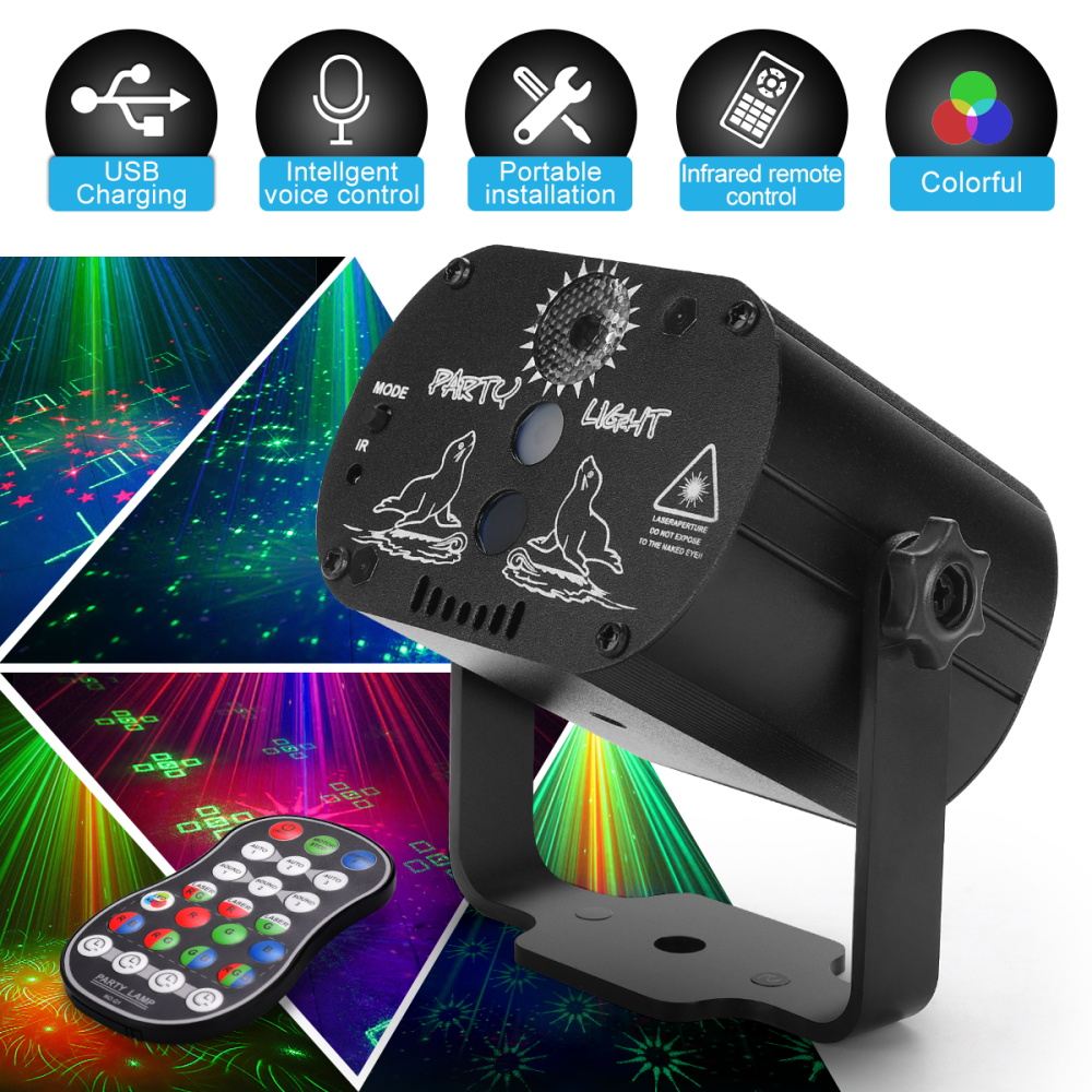 Mini RGB Disco Light Effect LED Stage Laser Projector Red Blue Green Lamp USB Rechargeable Wedding Birthday Party Light