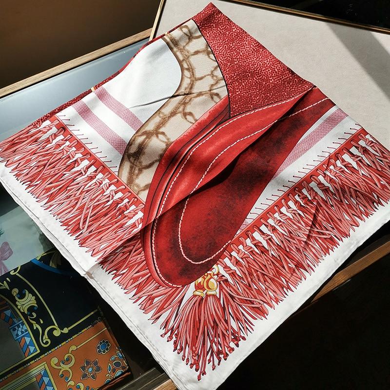 Spring Fabulous 100% Silk Scarf Amazing Red Color Square Silk Shawl Wraps Women Fashion Hijab Head Scarves