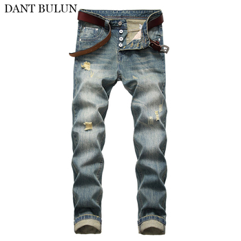 цена на Mens Vintage Jeans Classical Button Fly Straight Denim Pants Scratched Mens Clothes Ripped Washed Trousers Male Slim Fit Pants