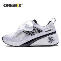 ONEMIX Sneakers for Women Leather Breathable Mesh Running Shoes Woman Outdoor Platform High Increasing Ribbon Walking Shoes