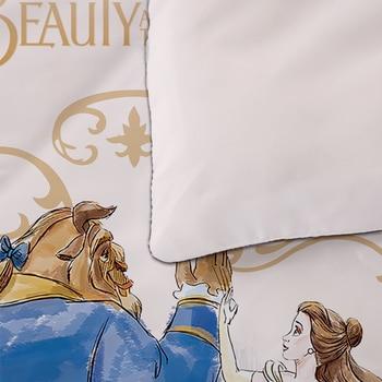 Beauty And The Beast Bedding Set Cartoon Disney Queen King Size Bed Linen Twin Full Duvet Cover Set Pillowcases For Kid Children