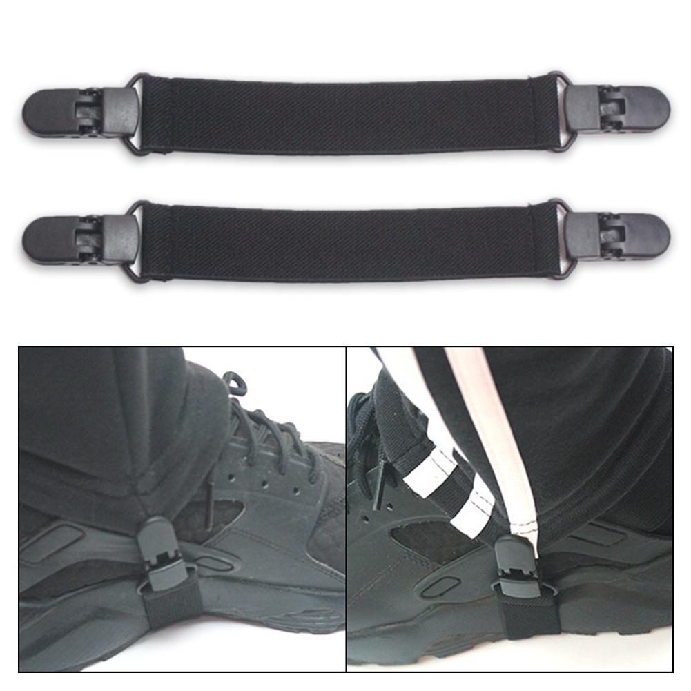 2Pairs Adjustable Boot Straps Leg Stirrups Elastic Pant Clips for Women Men