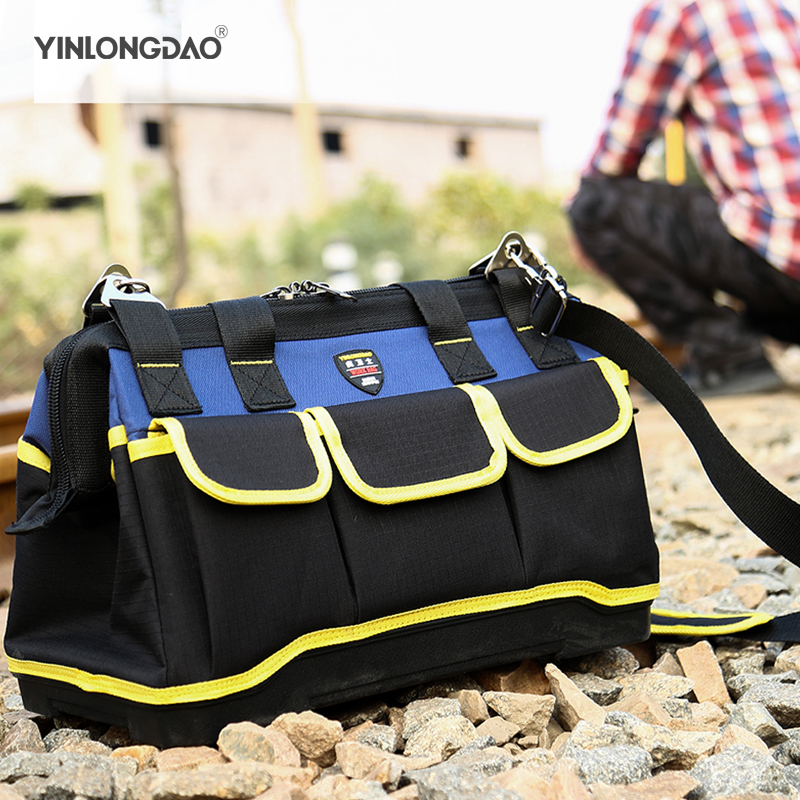 Foldable Tool Bags1680D Oxford Cloth Bag Waterproof Electrician Bags Portable Shoulder Bag Multifunction Repair Storage Bag DIY