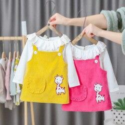 Casual vestido recém-nascido infantil roupas de bebê roupas da menina dos desenhos animados princesa vestido de manga comprida primavera outono meninas vestidos 3m-2t